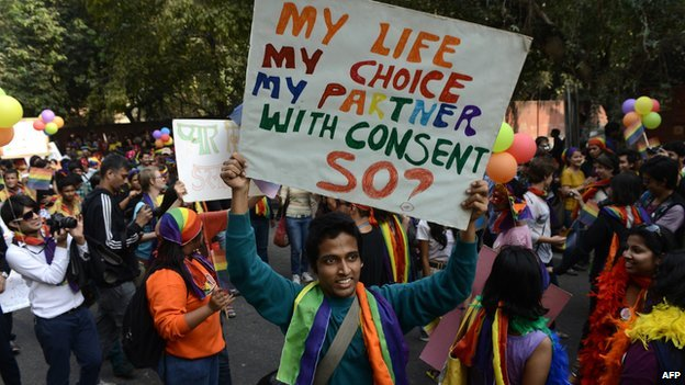 Members of the lesbian, gay, bisexual, transgender (LGBT) community and supporters attend the 5th Delhi Queer Pride parade in New Delhi on November 25, 2012.