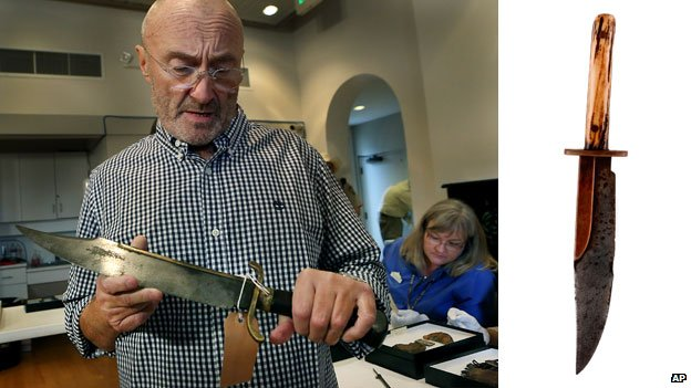 Two knives used at the Alamo that form part of Phil Collins' collection