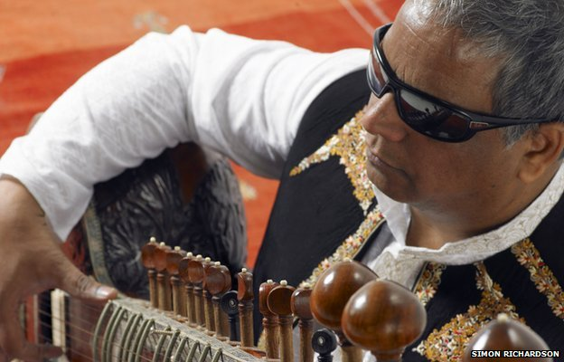 Baluji with his sitar.