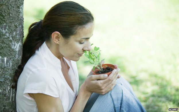Woman smelling pot of herbs