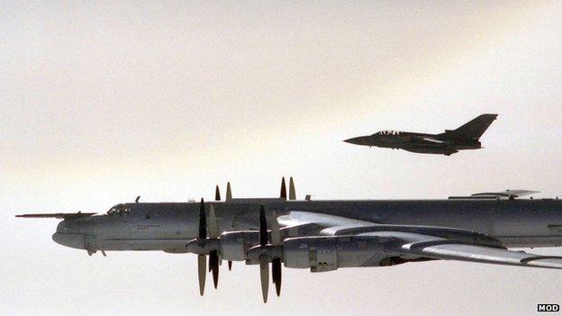 Tu-95 Urso bombardeiro acompanhado por RAF F3 Tornado, setembro de 2007