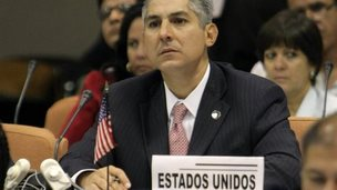 Representative of USA Nelson Arboleda attends a meeting to discuss measures to face and prevent the Ebola virus, in Havana, Cuba, 29 October 2014.