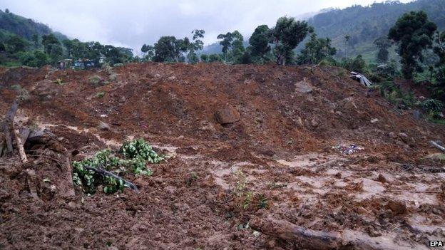 The landslide affected area (29 October 2014)