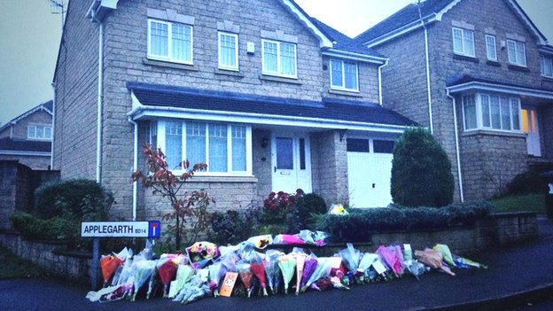Tributes outside house