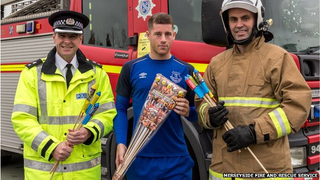 Ross Barkley with fire crews