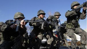 South Korean soldiers participate in an anti-chemical and anti-biological terror drill on November 18, 2013 in Seoul, South Korea
