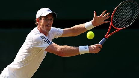 Andy Murray hitting a ball in tennis