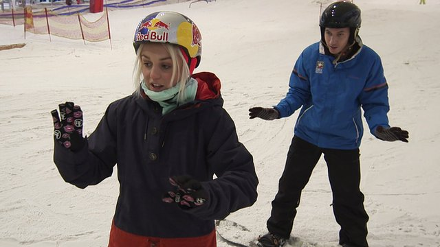Aimee Fuller gives BBC Radio 1Xtra DJ Nick Bright a snowboarding lesson