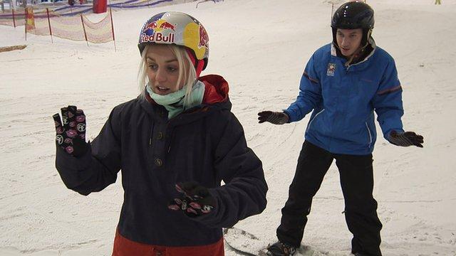 Aimee Fuller gives BBC Radio 1Xtra DJ Nick Bright a snowboarding lesson