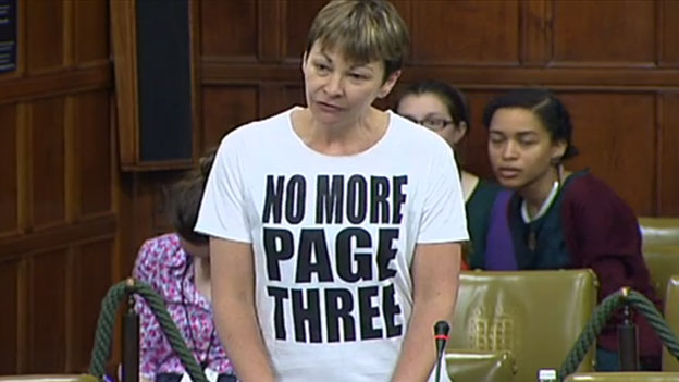 Caroline Lucas in her 'no more page three T-shirt'