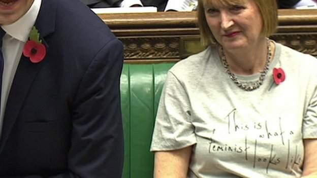 Harriet Harman in her slogan T-shirt