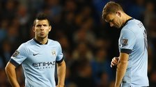Manchester City's Sergio Aguero and Edin Dzeko