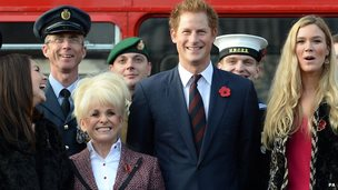 Barbara Windsor, Lacey Turner and Joss Stone with Prince Harry