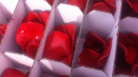 Box of ceramic poppies