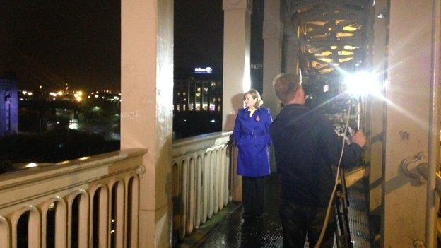 BBC Look North's Carol Malia being filmed