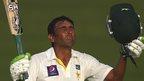 Pakistan's Younus Khan celebrates his century against Australia in Abu Dhabi