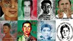 A collage of photos and drawings of eight of the missing students