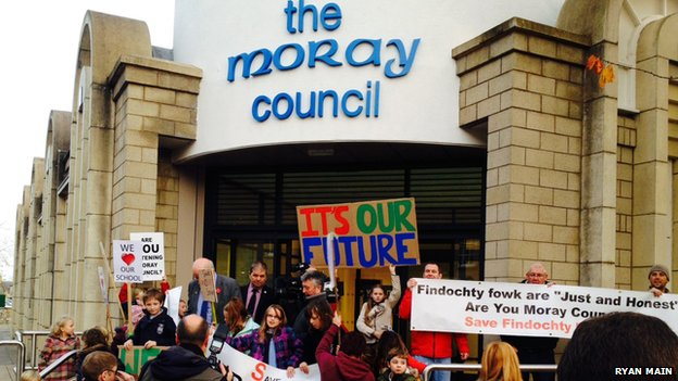 Moray council protest