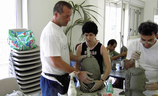 People in Tagliaferri's workshop