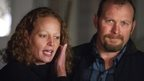 Nurse Kaci Hickox (L) and her boyfriend Ted Wilbur address the media during an informal meeting with the news media outside their home in Fort Kent, Maine 29 October 2014