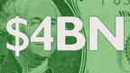 """$4BN"" written on dollar bill"