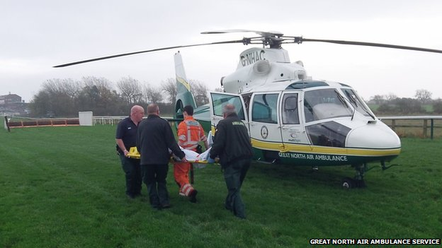 Air ambulance at the racecourse