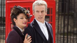 Michelle Gomez as Missy and Peter Capaldi as the Doctor in Doctor Who