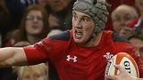 Jonathan Davies on the attack for Wales