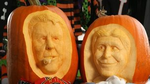 Louis Van Gaal and Manuel Pellegrini pumpkin carvings