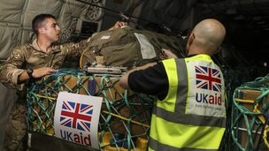 UK humanitarian aid being loaded onto a RAF Hercules C130 at RAF Brize Norton destined for Iraq