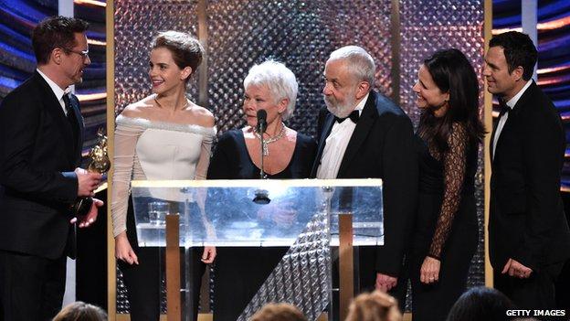 Robert Downey Jr, Emma Watson, Dame Judi Dench, director Mike Leigh, Julia Louis-Dreyfus and Mark Ruffalo