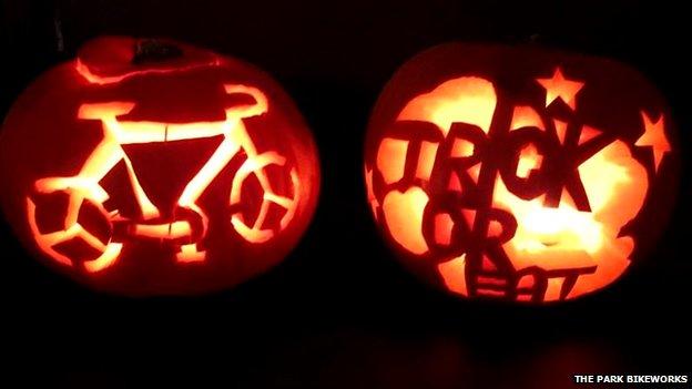Bike carved into a pumpkin