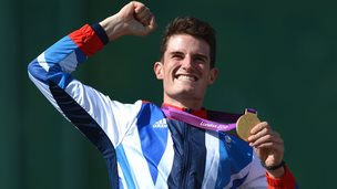 Peter Wilson celebrates his Olympic gold medal at London 2012