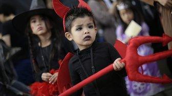 Boy dressed in Halloween costume