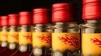 Bottles of Fireball in a line