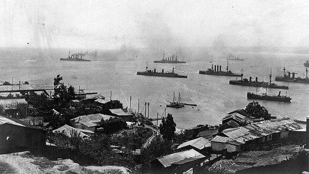 German Vice Admiral von Spee's cruiser squadron, leaving Valparaiso, Chile, circa 3 November 1914, following the Battle of Coronel.