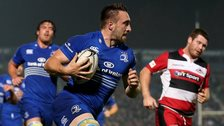Jack Conan runs through some weak tackling to score Leinster's second try against Edinburgh