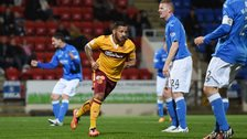 Lionel Ainsworth celebrates after scoring for Motherwell against St Johnstone