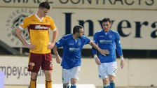 St Johnstone players celebrate in the match against Motherwell