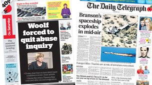 The i and Daily Telegraph front pages on 1/11/14