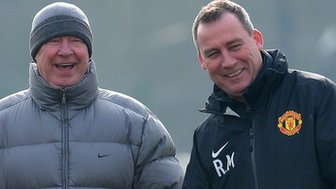 Rene Meulensteen (right) with former Manchester United manager Sir Alex Ferguson