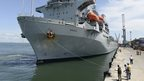 British ship RFA Argus supplying aid to Ebola-hit Sierra Leone