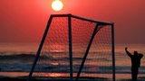 Goal on a beach