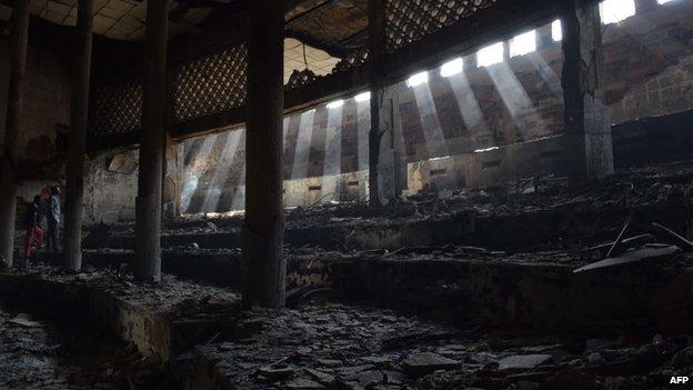 Burned interior of parliament