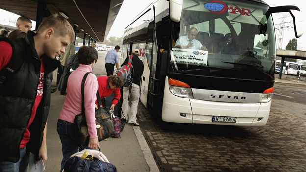 Polish workers at Warsaw bus garage - file pic