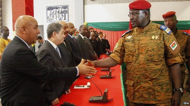 Lt Col Isaac Zida met diplomats in Ouagadougou on 3 November 2011