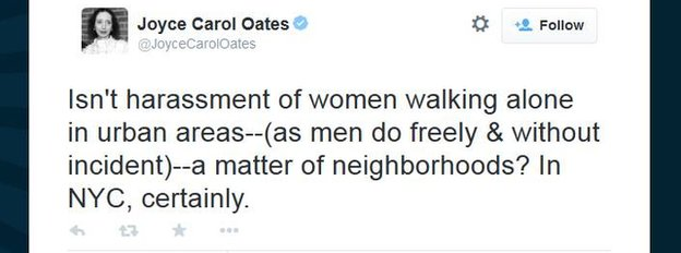 AUthor Joyce Carol Oates tweets about street harassment in New York