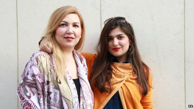 Undated handout photo of Ghoncheh Ghavami (right) with her mother Susan Moshtaghian,
