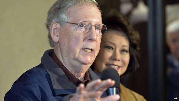 Senate Minority Leader Mitch McConnell (left) appeared in Lexington, Kentucky, on 3 November 2014
