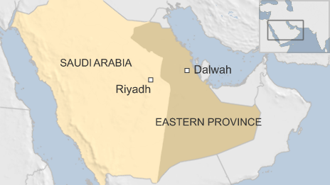 A map showing Dalwah, in eastern Saudi Arabia